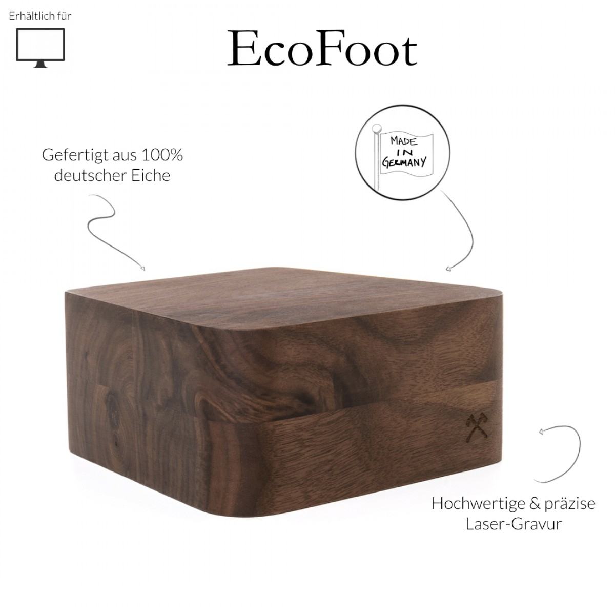 """Woodcessories - EcoFoot iMac Stand - Premium Design Monitorständer, Bildschirmständer, Erhöhung für den Apple iMac aus massivem Holz (21,5"""", Walnuss)"""
