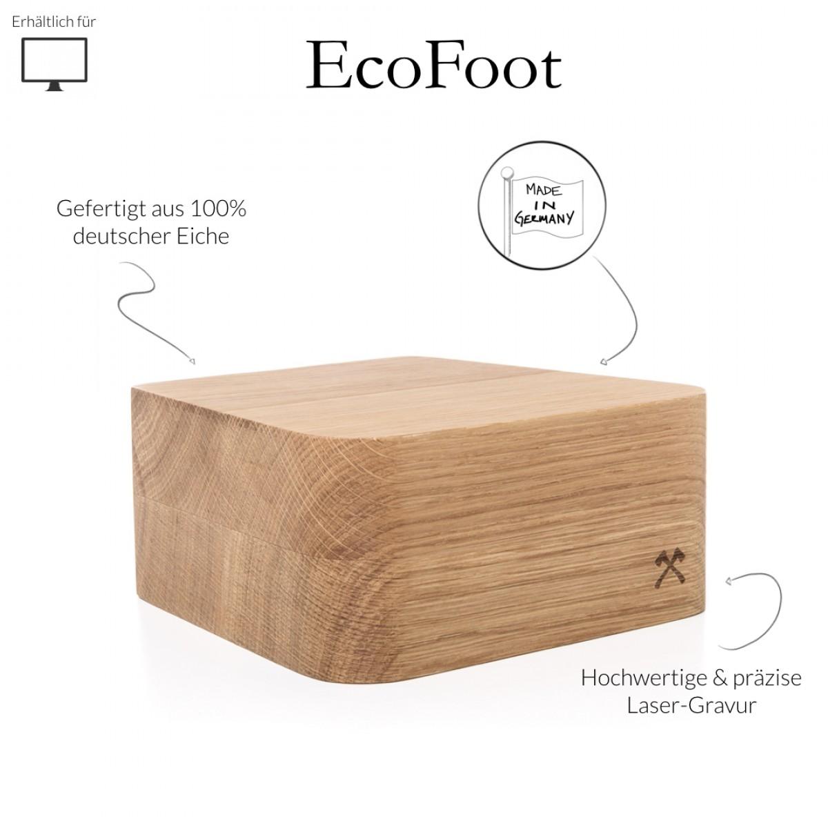 """Woodcessories - EcoFoot iMac Stand - Premium Design Monitorständer, Bildschirmständer, Erhöhung für den Apple iMac aus massivem Holz (21,5"""", Eiche)"""