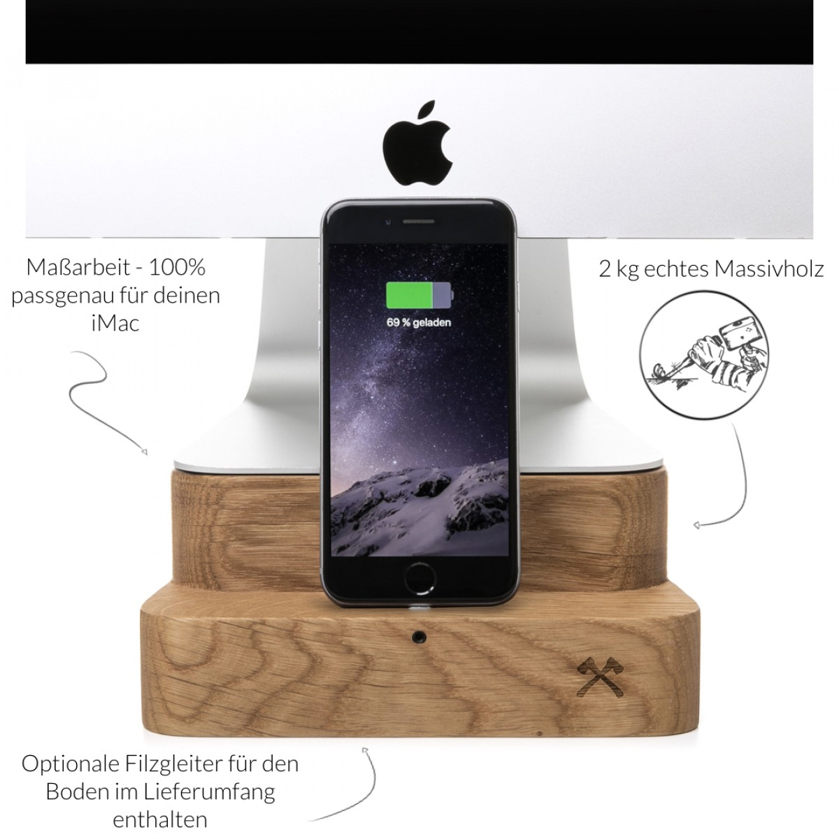 "Woodcessories - EcoFoot Dock Edt. - Premium iMac Stand + iPhone Dock für den Apple iMac & alle iPhones aus massivem Holz (iMac 27"", Eiche)"