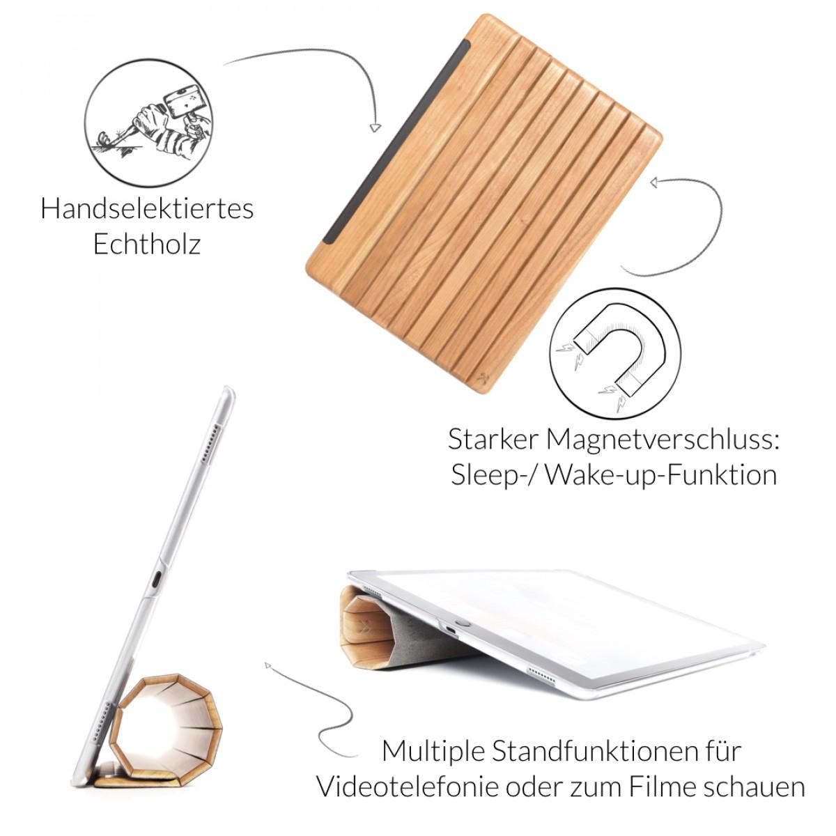 Woodcessories - EcoGuard iPad Case - Premium Design Cover, Hülle für das iPad aus echtem Holz (iPad 2017, Walnuss oder Kirsche, Hardcover transparent)