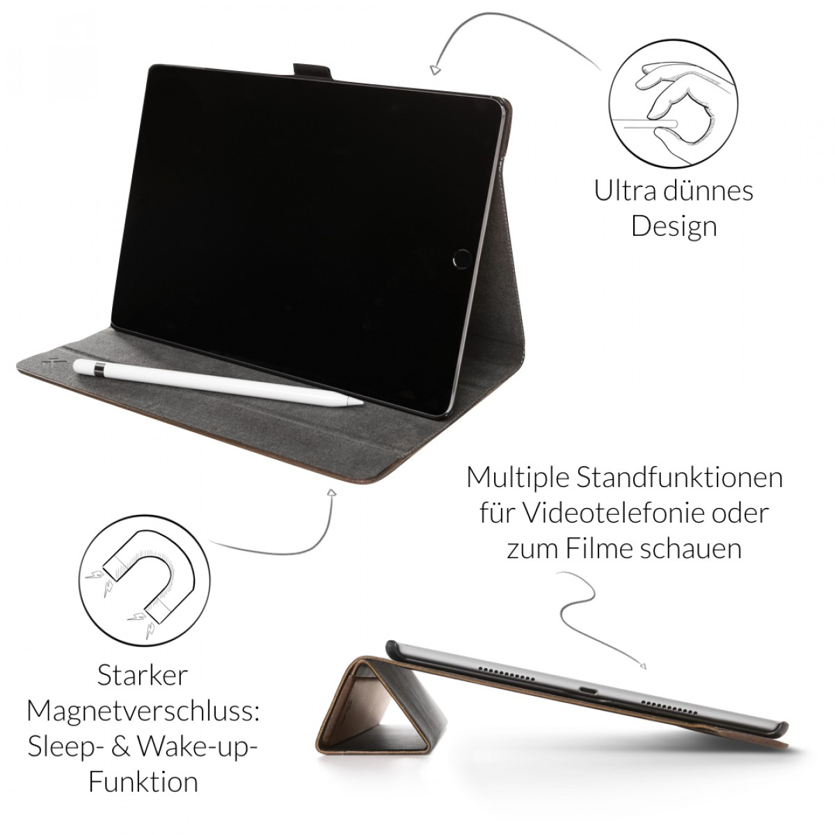 Woodcessories - EcoFlip iPad - Premium Design Case, Cover, Hülle für das iPad aus Walnuss Holz & veganem Leder m. Standfunktion (iPad Air 2)