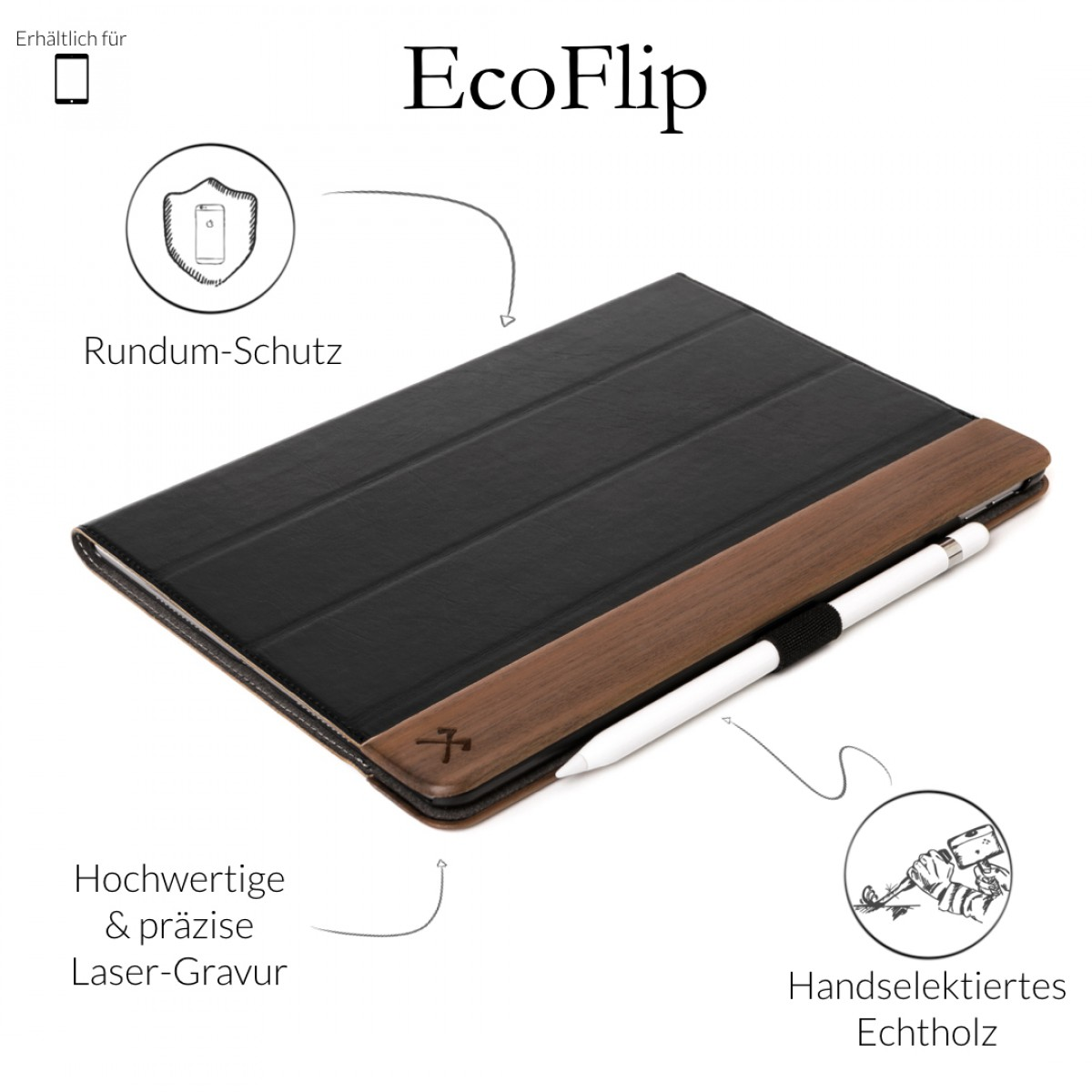 Woodcessories - EcoFlip iPad - Premium Design Case, Cover, Hülle für das iPad aus Walnuss Holz & veganem Leder (iPad Pro 12.9 (Univ. Fit 2015/17))
