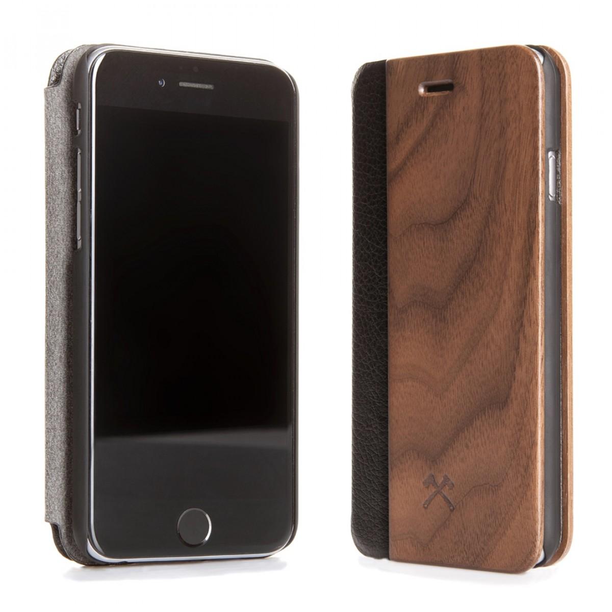 Woodcessories - EcoFlip Case - Premium Design Hülle, Case, Cover für das iPhone aus FSC zert. Holz & natürlicher Lederoptik (iPhone X, Walnuss)