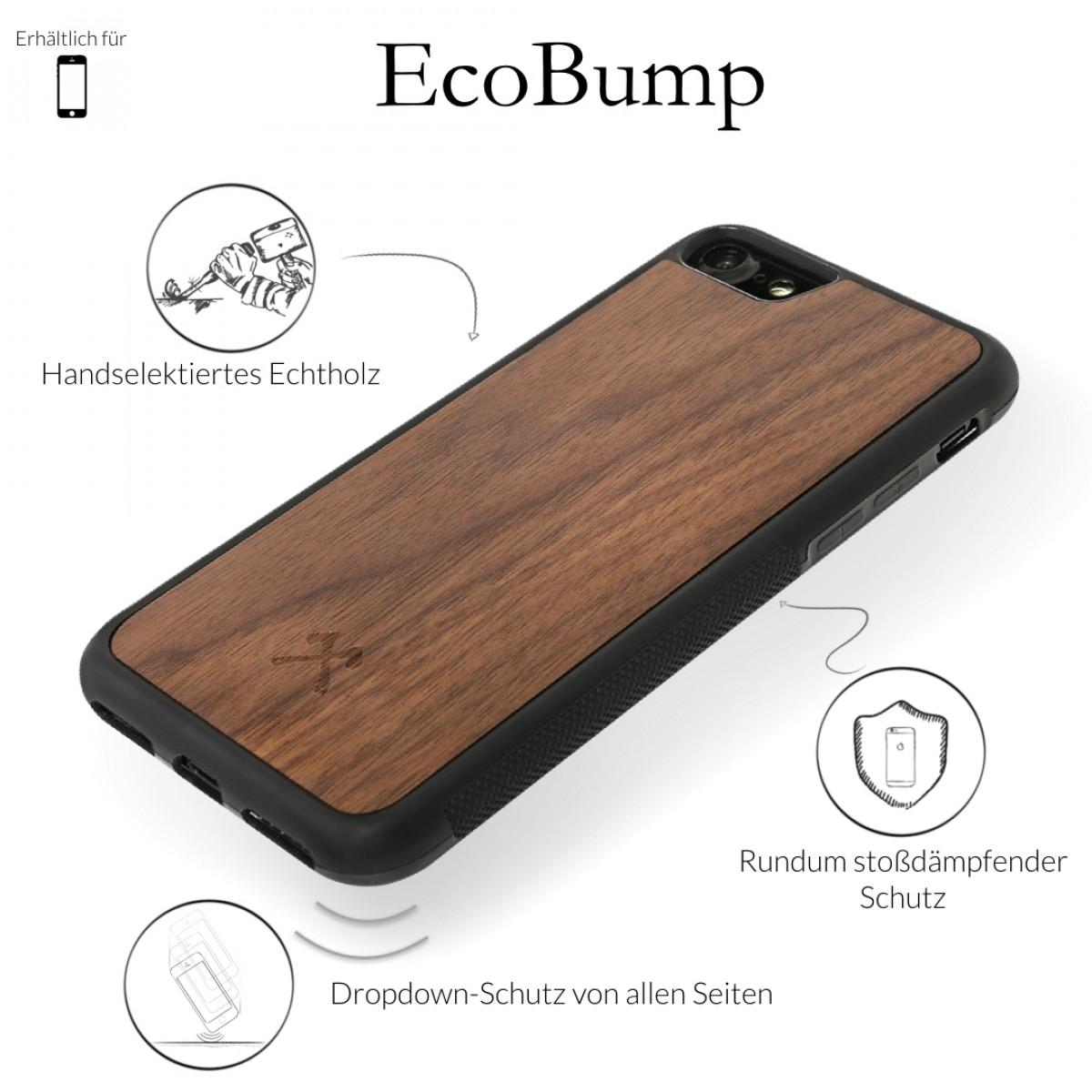 Woodcessories - EcoBump - Premium Design Hülle, Case, Cover, Schutzhülle für das iPhone aus FSC zertifiziertem Walnuss Holz (iPhone 7/ 8)