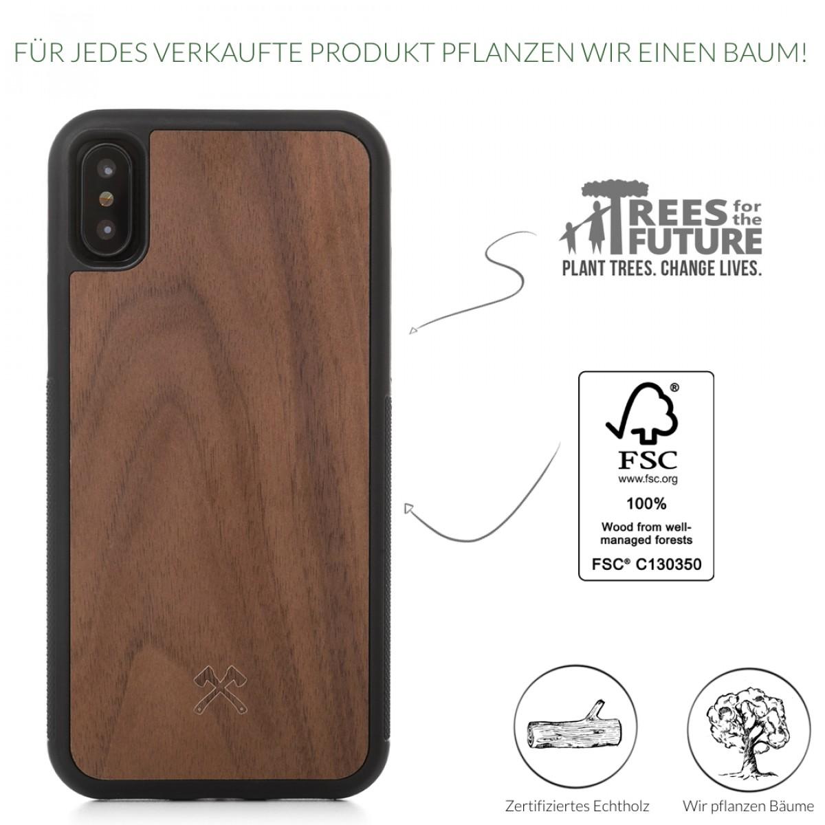 Woodcessories - EcoBump - Premium Design Hülle, Case, Cover, Schutzhülle für das iPhone aus FSC zertifiziertem Walnuss Holz (iPhone X)