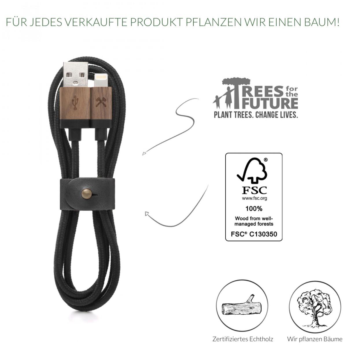 Woodcessories - EcoCable - Design Ladekabel, Kabel (Mfi Apple zert.) für Apple Lightning Produkte aus FSC-zert. Holz & Nylon (Walnuss, Schwarz)