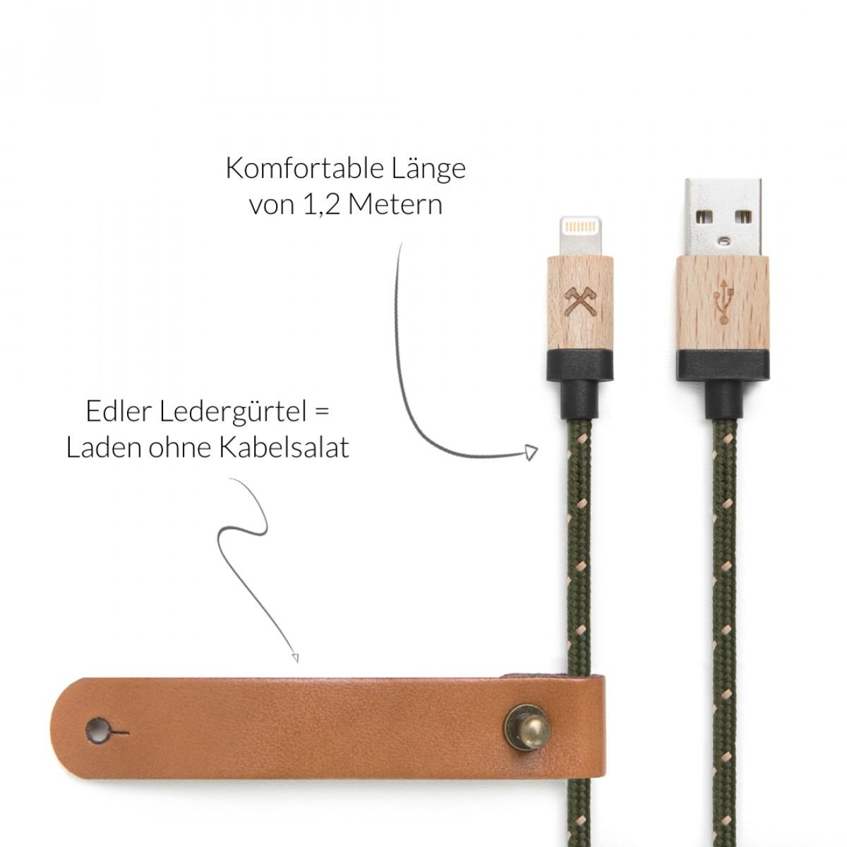 Woodcessories - EcoCable - Design Ladekabel, Kabel (Mfi Apple zert.) für Apple Lightning Produkte aus FSC-zert. Holz & Nylon (Ahorn, grün-braun)