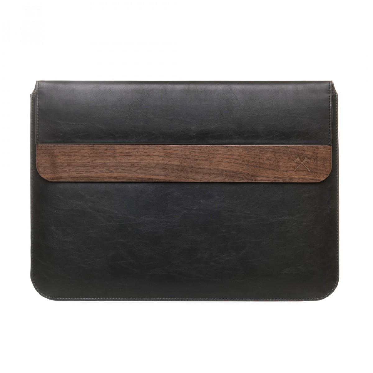 """Woodcessories - EcoPouch - Macbook Tasche - Premium Design Hülle, Notebooktasche, Laptoptasche m. echtem Walnuss Holz & natürlicher Lederoptik (MacBook 11-13"""")"""