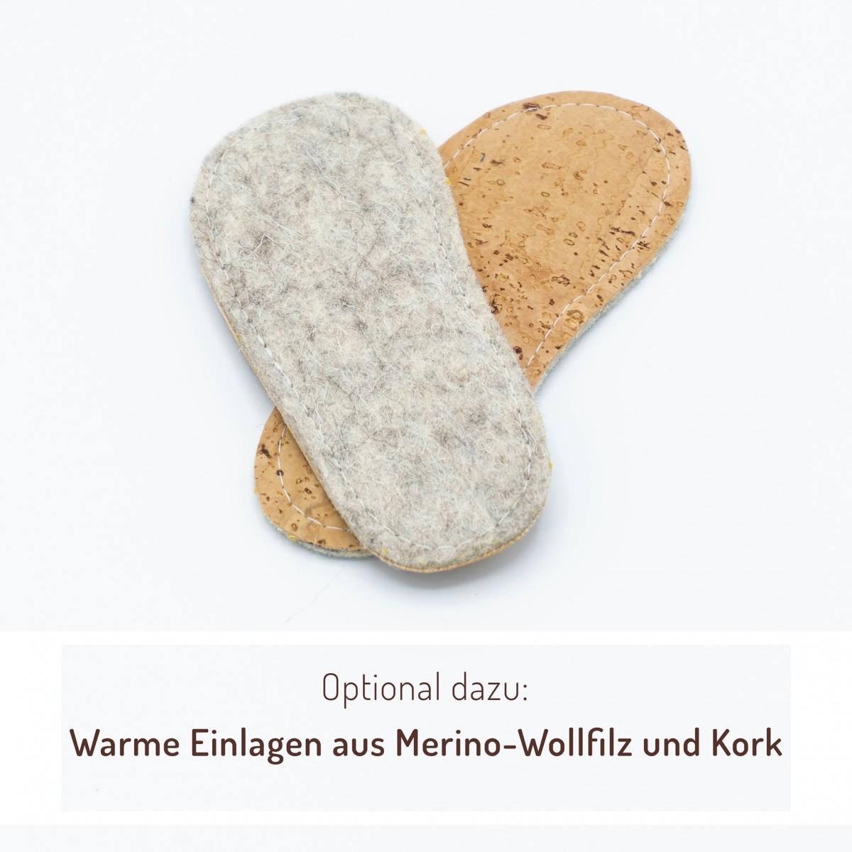 MEIN EIN & ALLES Babyschuhe / Krabbelschuhe / Hausschuhe aus Merino-Wolle und Bio-Leder in Blau