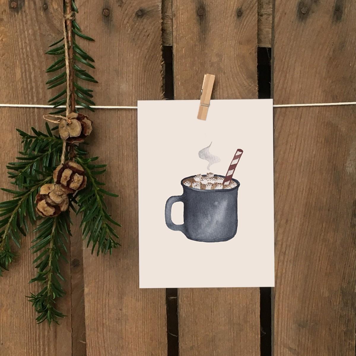 Weihnachtskarte A6 – Hygge Kakau - Elliet