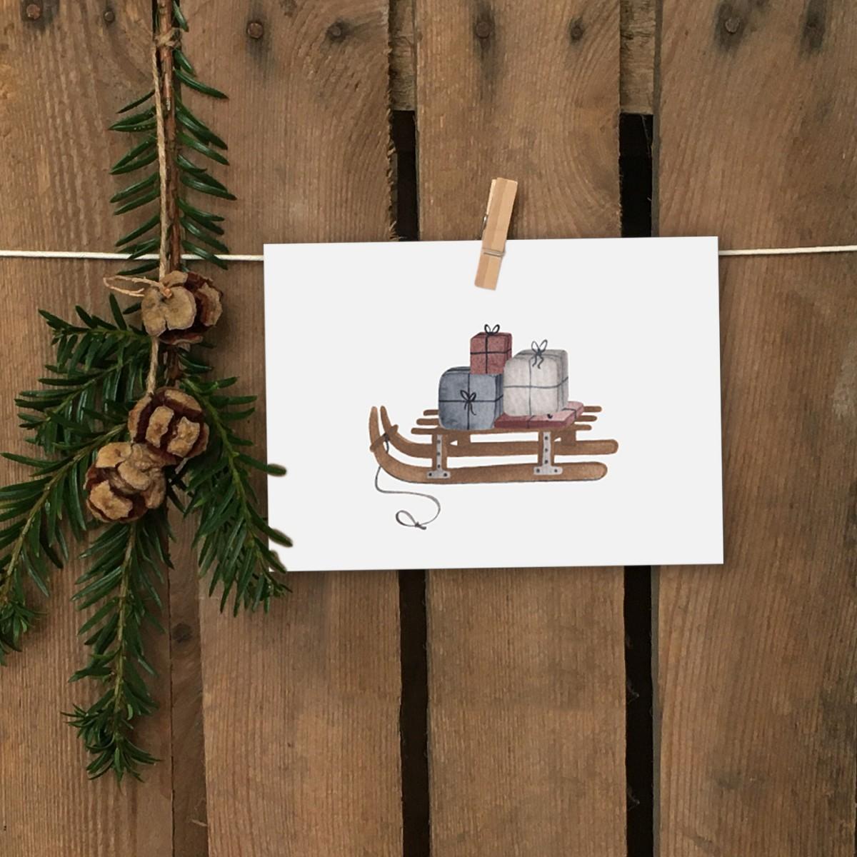 Weihnachtskarte A6 – Schlitten - Elliet