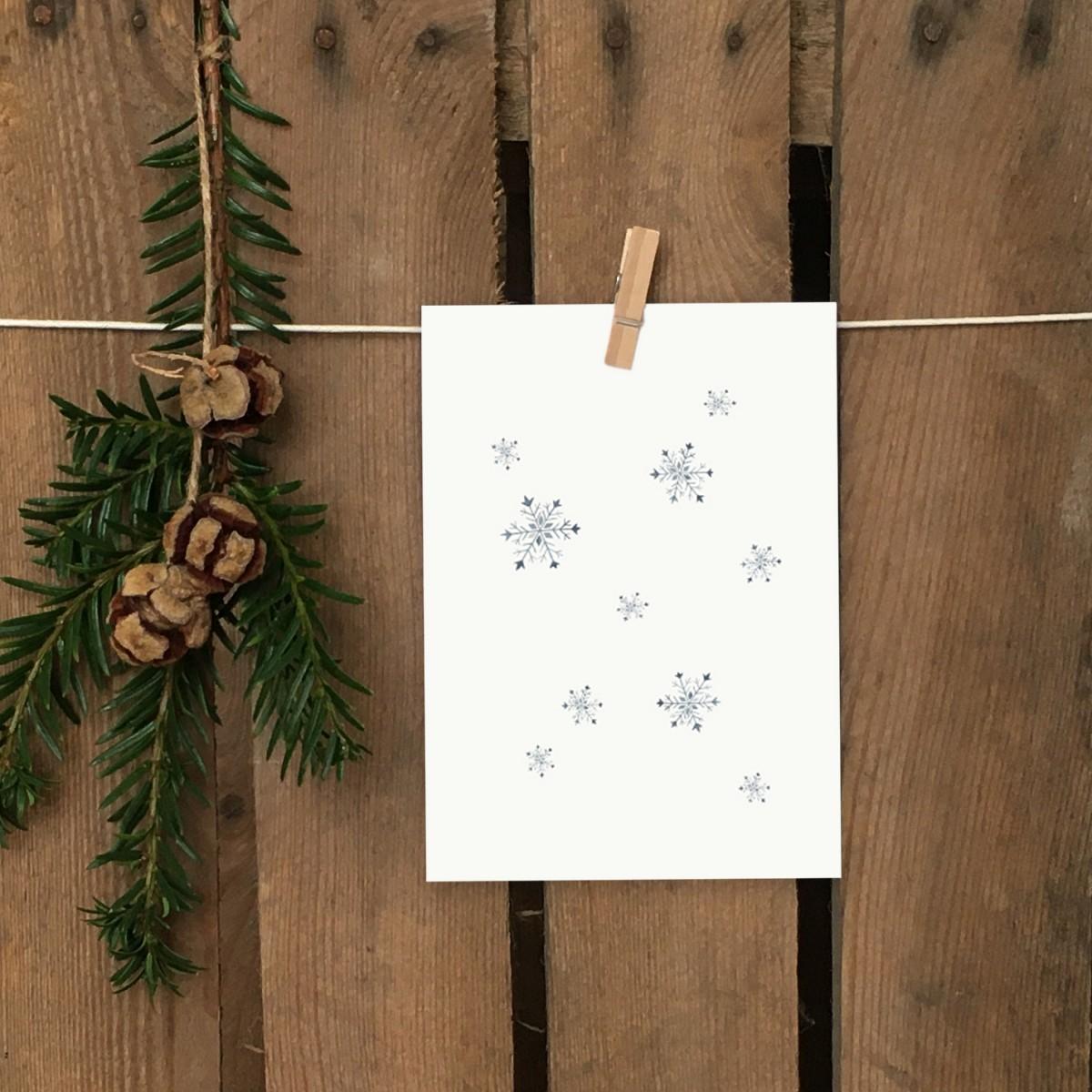 Weihnachtskarte A6 – Schneeflocken - Elliet