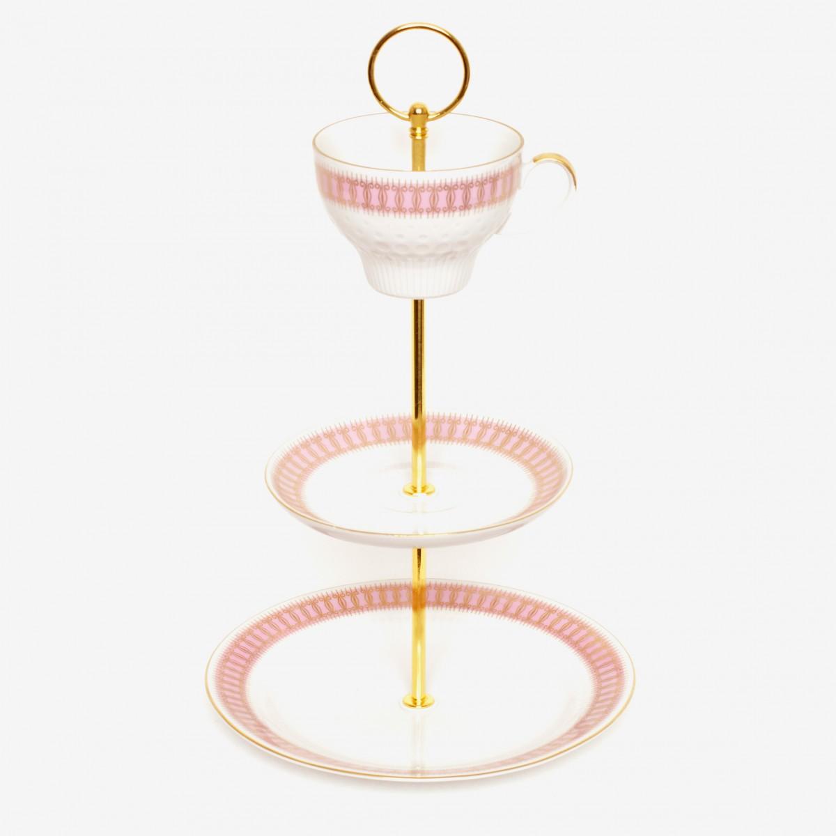 Lieselotte handgefertigte 3-stöckige Etagere aus Vintage-Porzellan mit rosa-goldenem Dekor