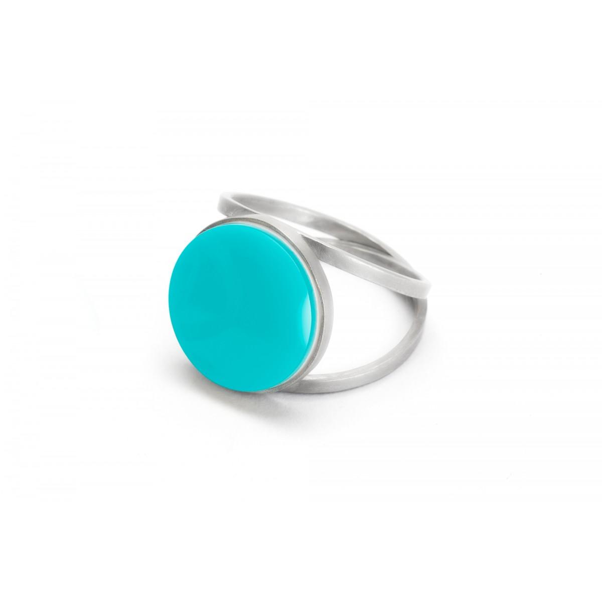 "Eva Slotta Jewellery ""Tint Deep"" Ring mit türkisfarbenen Achat, 925 Silber"