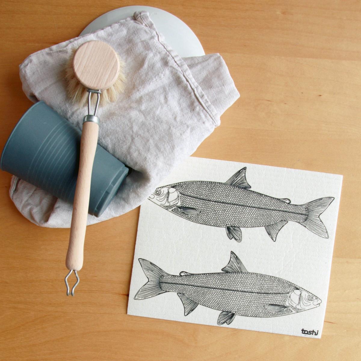 toshi Schwammtuch mit Aufdruck (Fische)