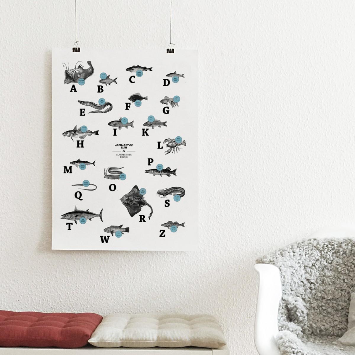 The True Type Poster, ABC der Fische / alphabet of fish in Deutsch/Englisch, DIN A1, Plakat, Typografie, Design
