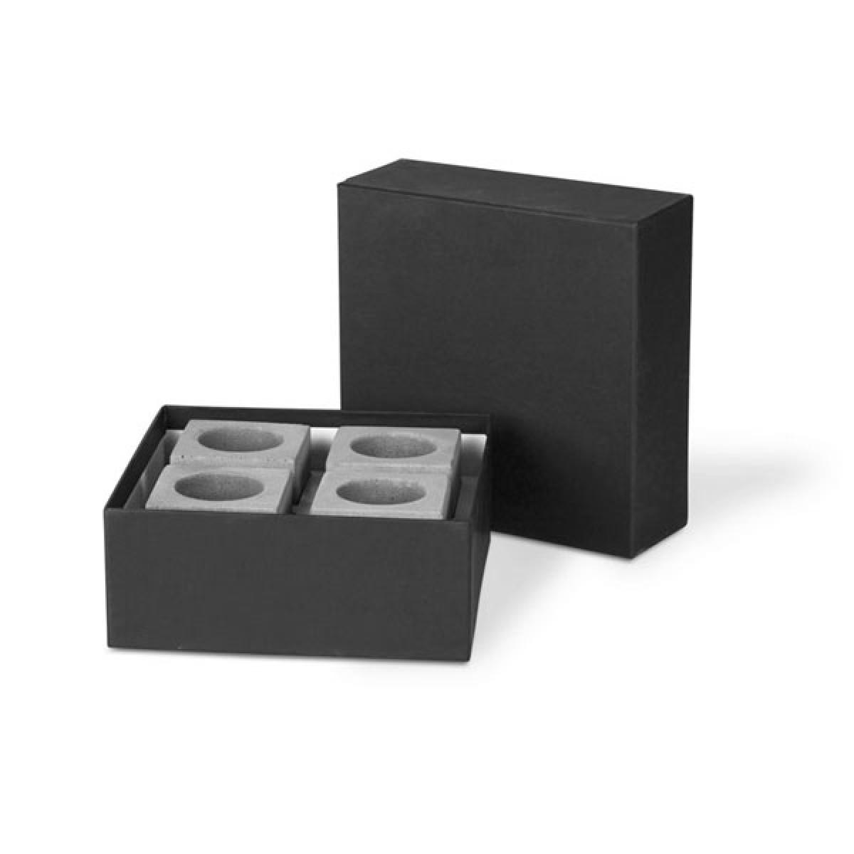 """Korn Produkte Kerzenleuchter """"Block"""" für Teelichter aus Beton (vierteilig)"""