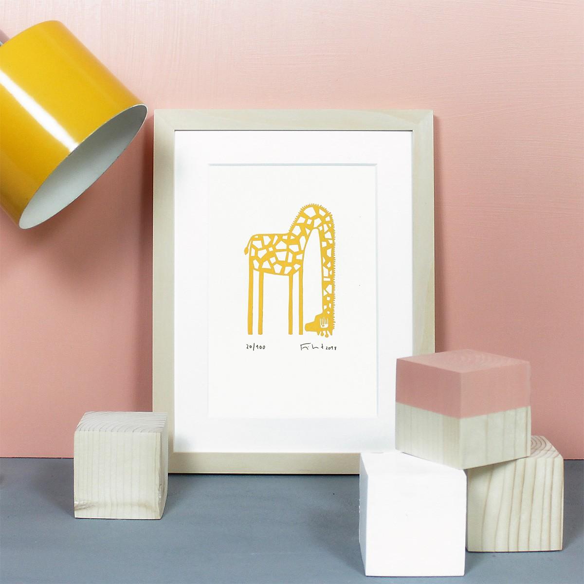 Knallbraun – Giraffe | Linolschnitt