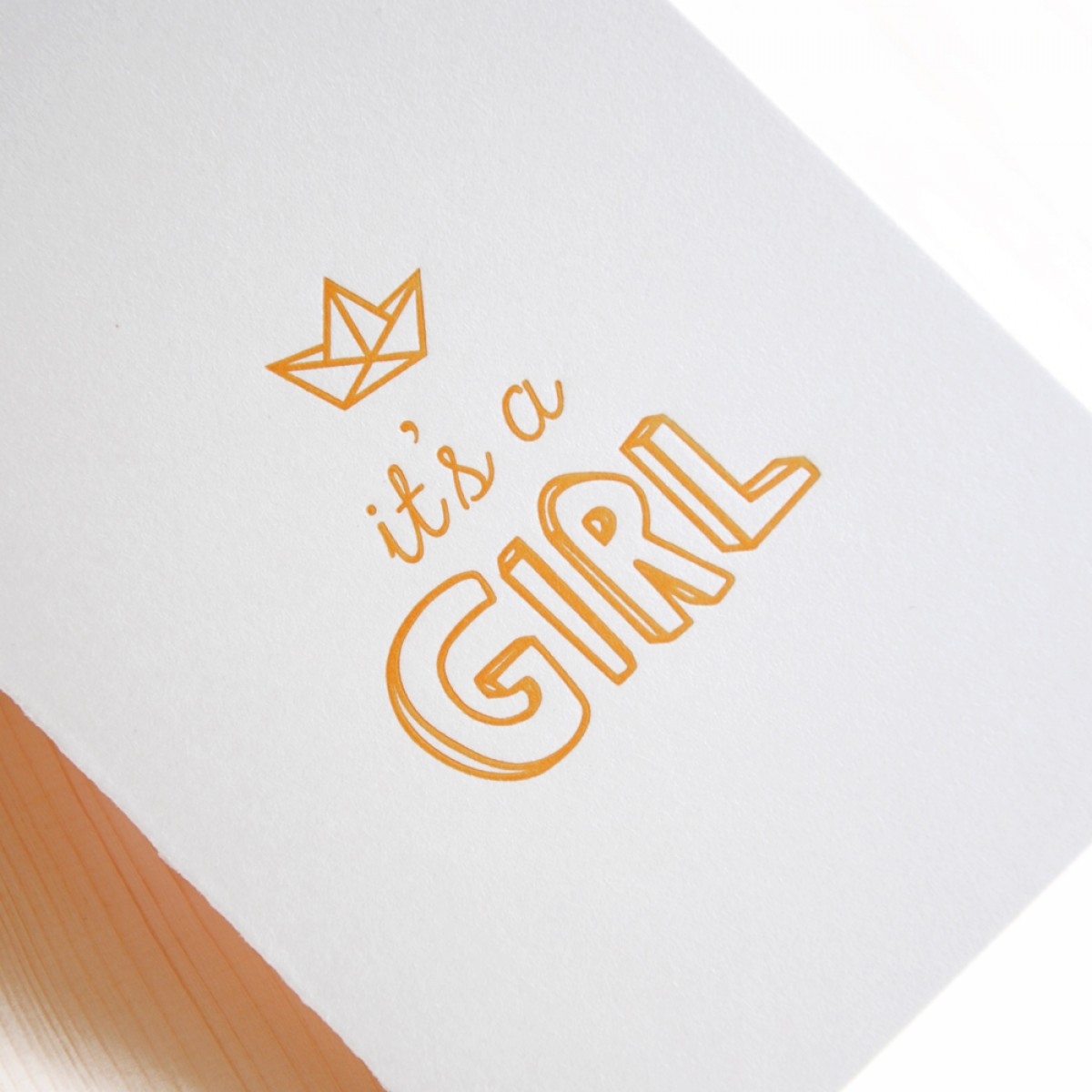 finicrafts It's a Girl Letterpress-Klappkarte mit Umschlag