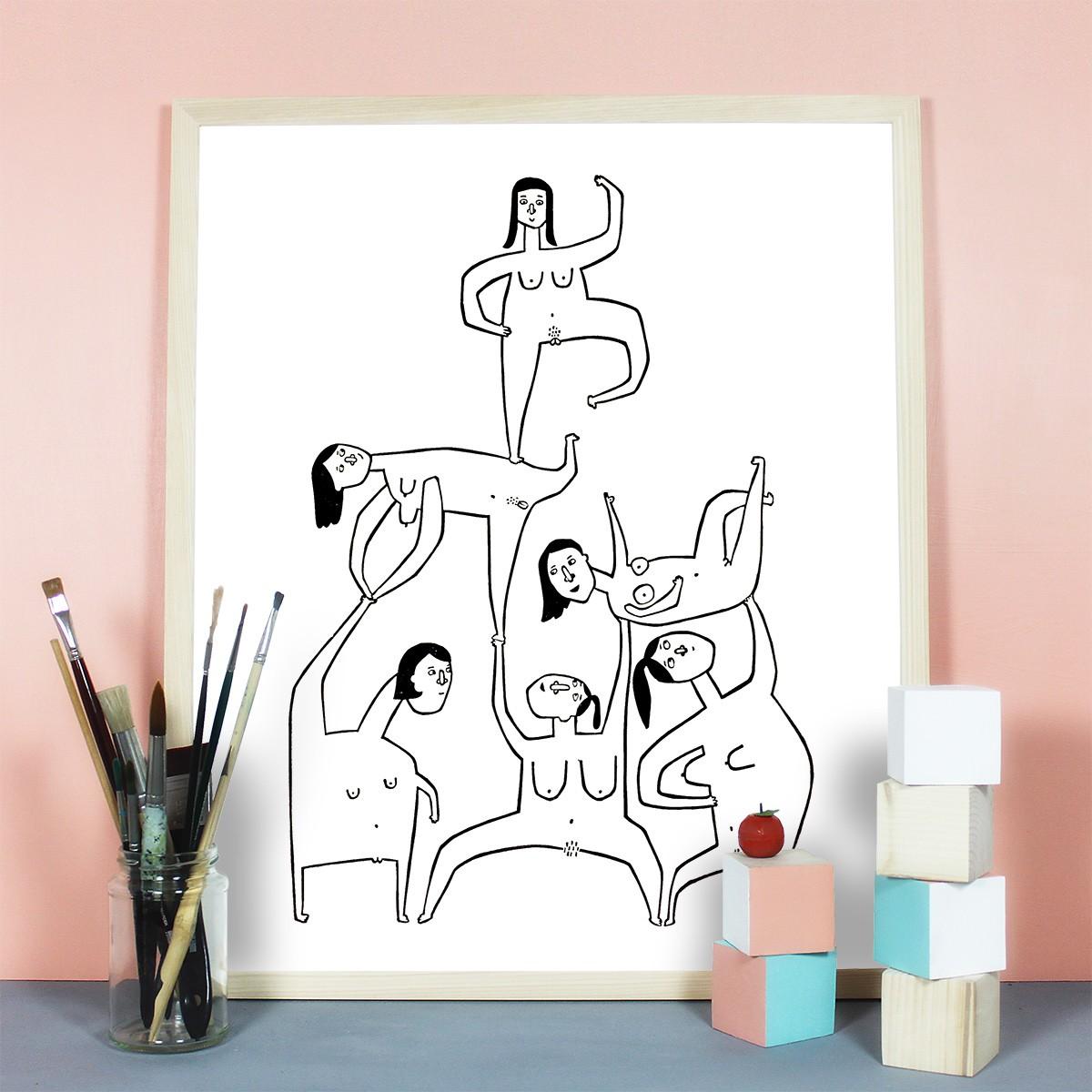Knallbraun – Girls Girls Girls | Linolschnitt