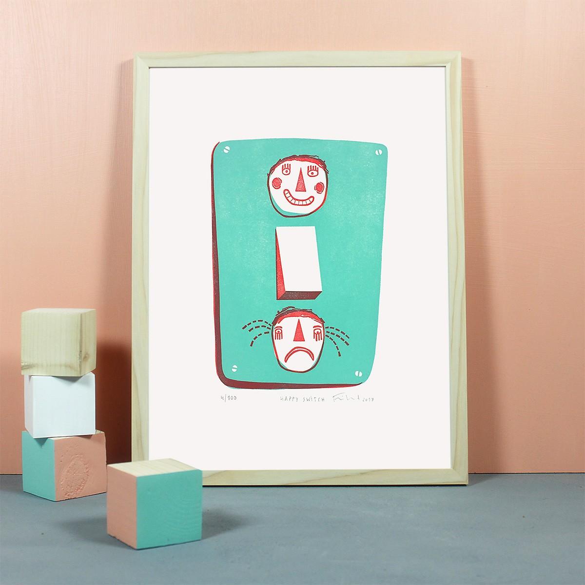 Knallbraun – Happy Switch | Linolschnitt