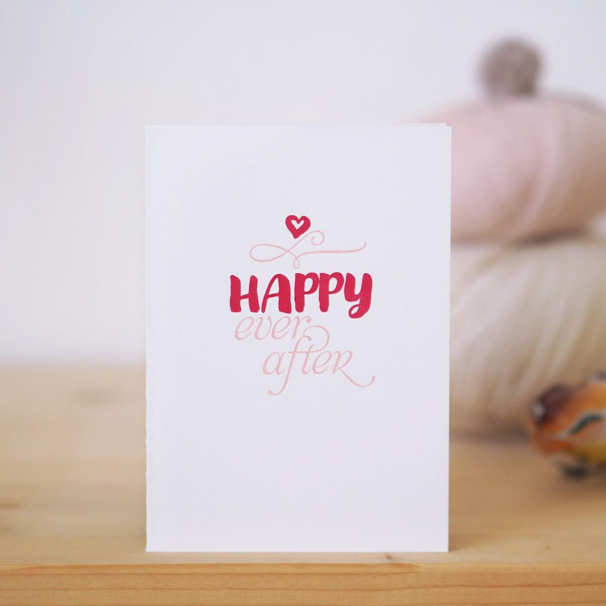 finicrafts Happy ever after Letterpress-Klappkarte mit Umschlag