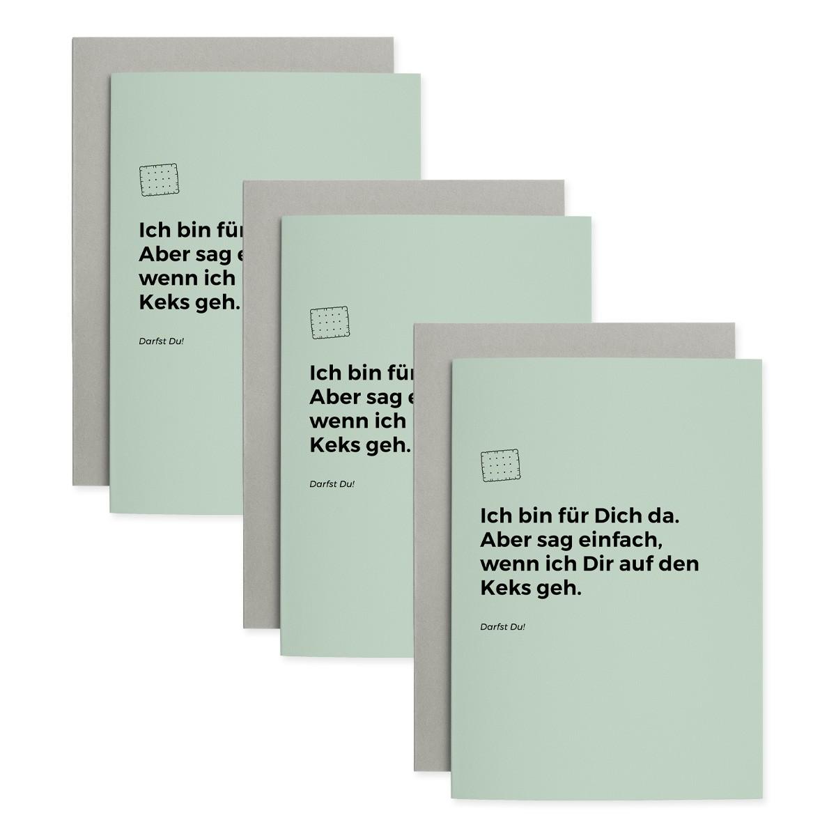 Keks | 3er Set Klappkarten inkl. Umschlag | heartfelt paper & co