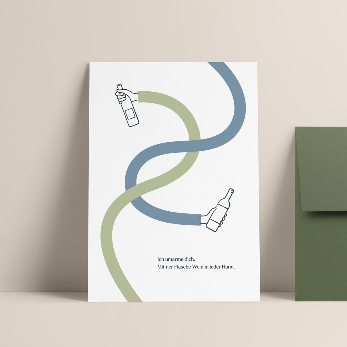 Wein Umarmung | 3er Set Klappkarten inkl. Umschlag | heartfelt paper & co