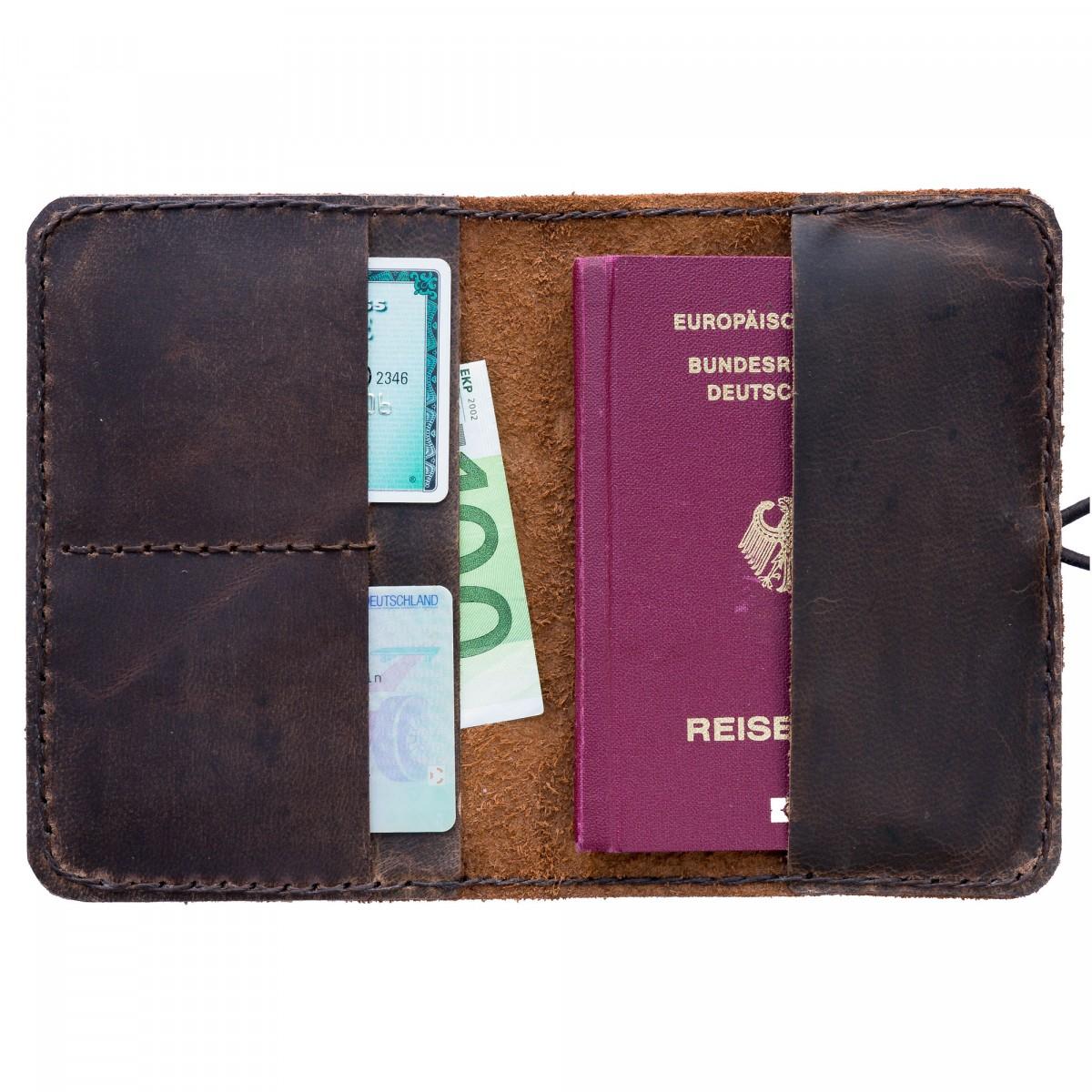hecho. Reisepasshülle - handgefertigt aus 100% echtem Leder (Reisepassetui, Reisepass)