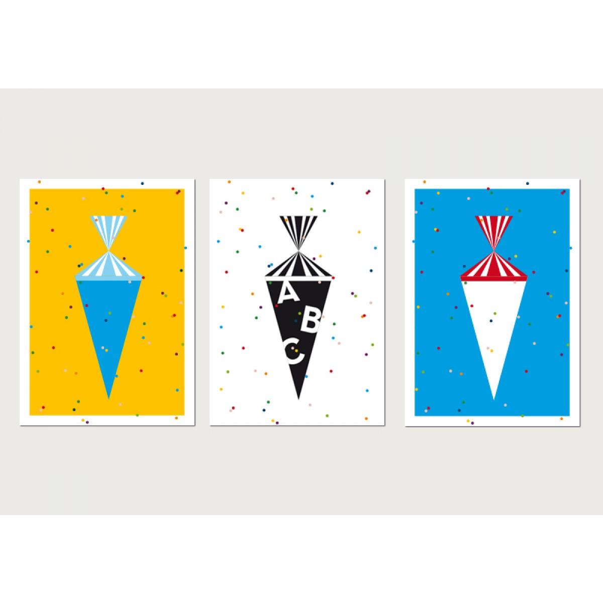 "3 Postkarten ""CandyMail"" Zuckertüte, Schulanfang"