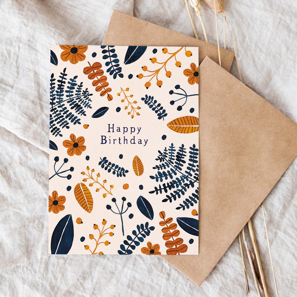 Paperlandscape | Faltkarte | Happy Birthday | Geburtstagskarte | Wilde Blätter | Pflanzen Karte