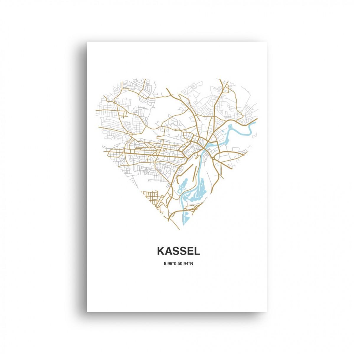 Stadtliebe® | Kassel - Karte Herz Kunstdruck A2