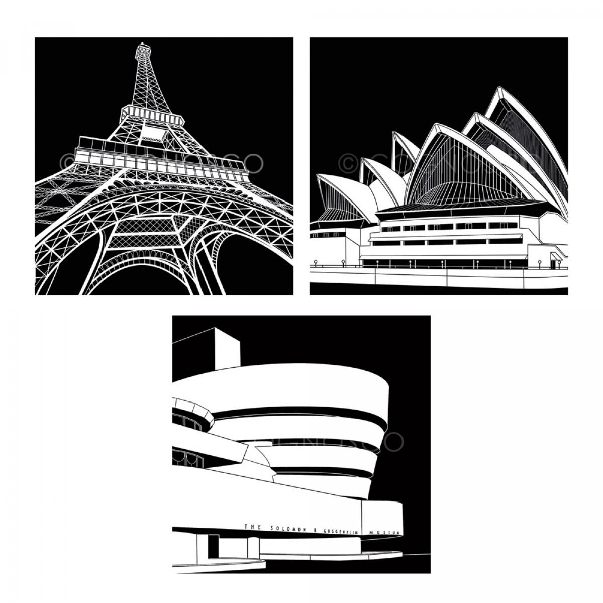COGNOSCO Wandbild/ Holzblock 3er Set, internationale Städte