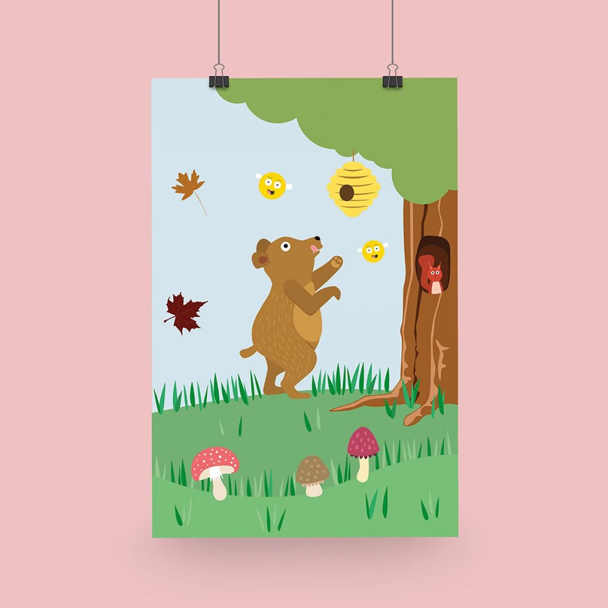"""Edith schmuckes Papier """"Honigbär"""" Poster 20x30cm"""