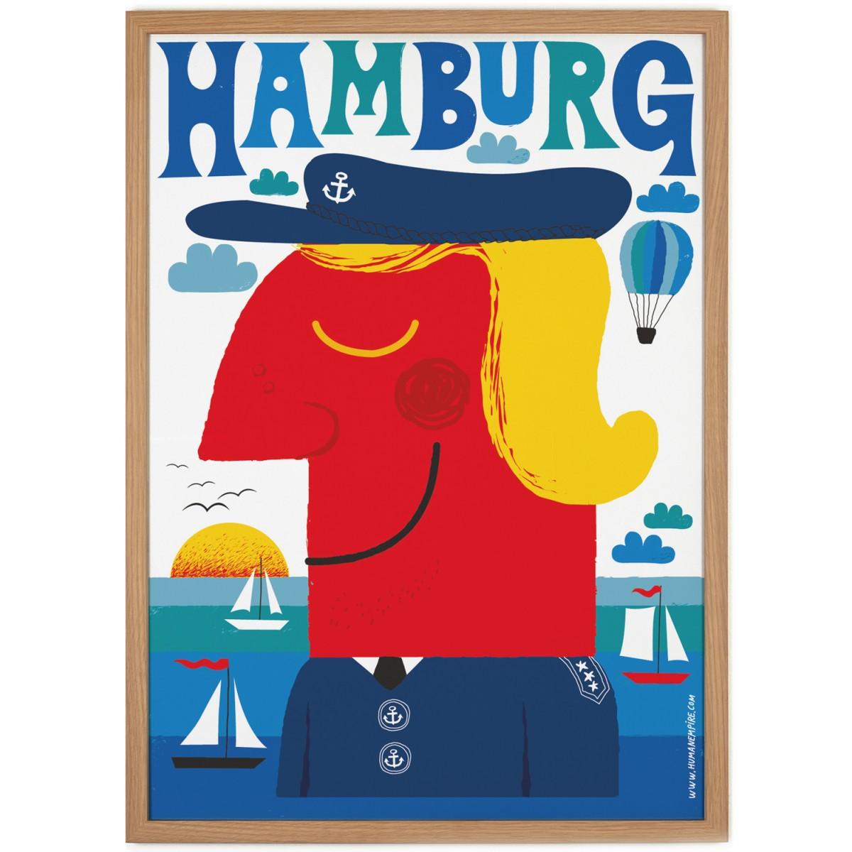human empire blaues hamburg poster 50x70cm. Black Bedroom Furniture Sets. Home Design Ideas