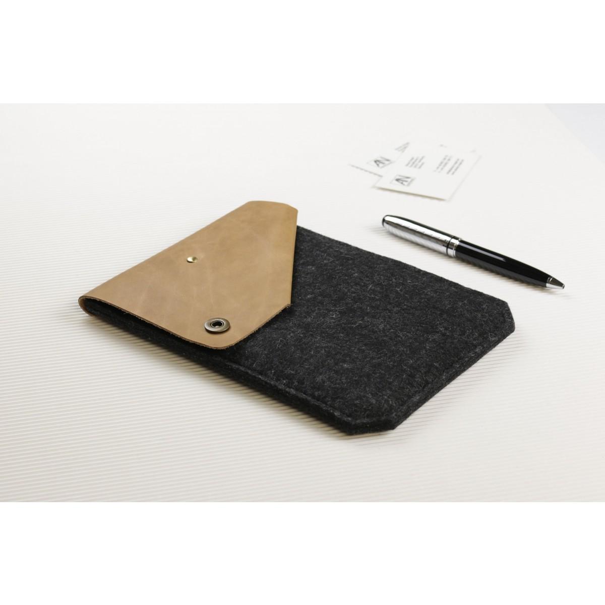 Alexej Nagel Hülle für iPad Air / iPad Air 2 aus Vintage Leder & Filz anthrazit