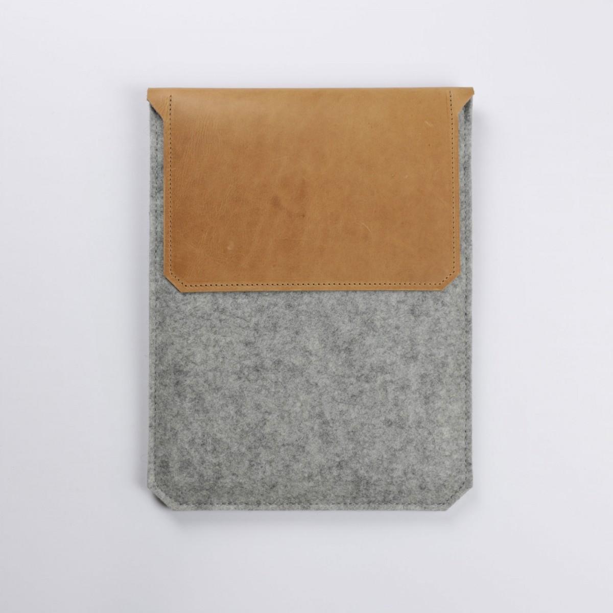 Alexej Nagel Hülle für iPad Air / iPad Air 2 aus Vintage Leder & Filz grau