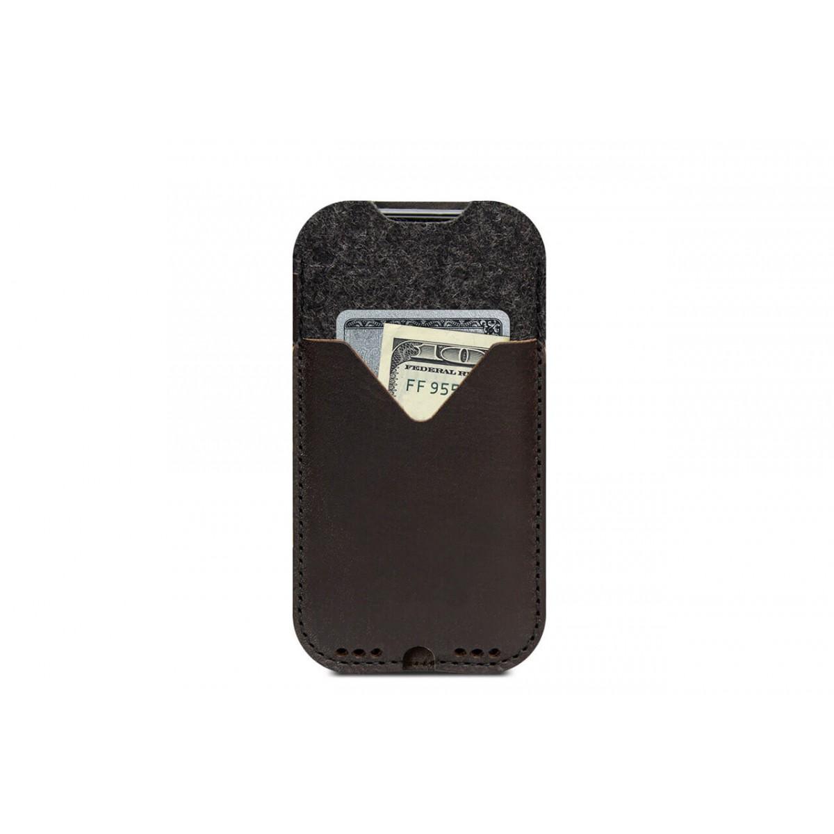 iPhone 12 Pro Handyhülle KIRKBY Vegetabil gegerbtes Leder und 100% Merino Wollfilz (Mulesing-frei)