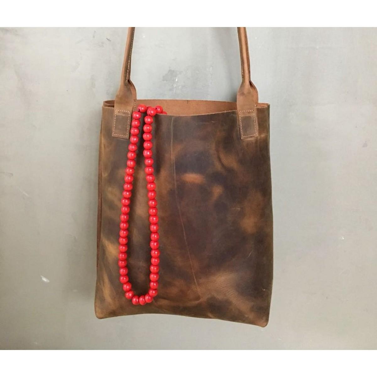 BSAITE / Brauner Leder Shopper / Leder Tasche