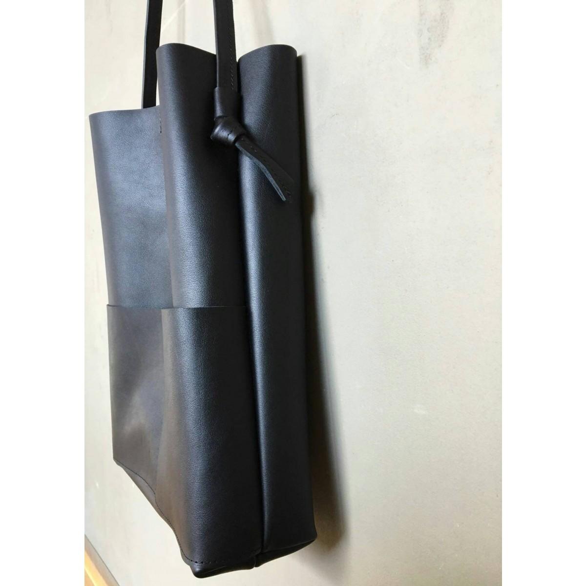 BSAITE / Schwarze Leder Beuteltasche / Boho Bag