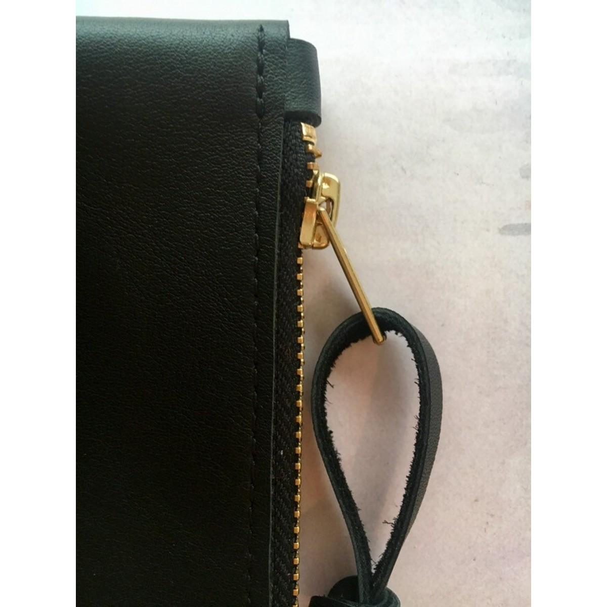 BSaite / Kleines schwarzes Leder Portemonnaie / kleine Leder Geldbörse / Reißverschluss Tasche schwarz / Geschenk für Freundin