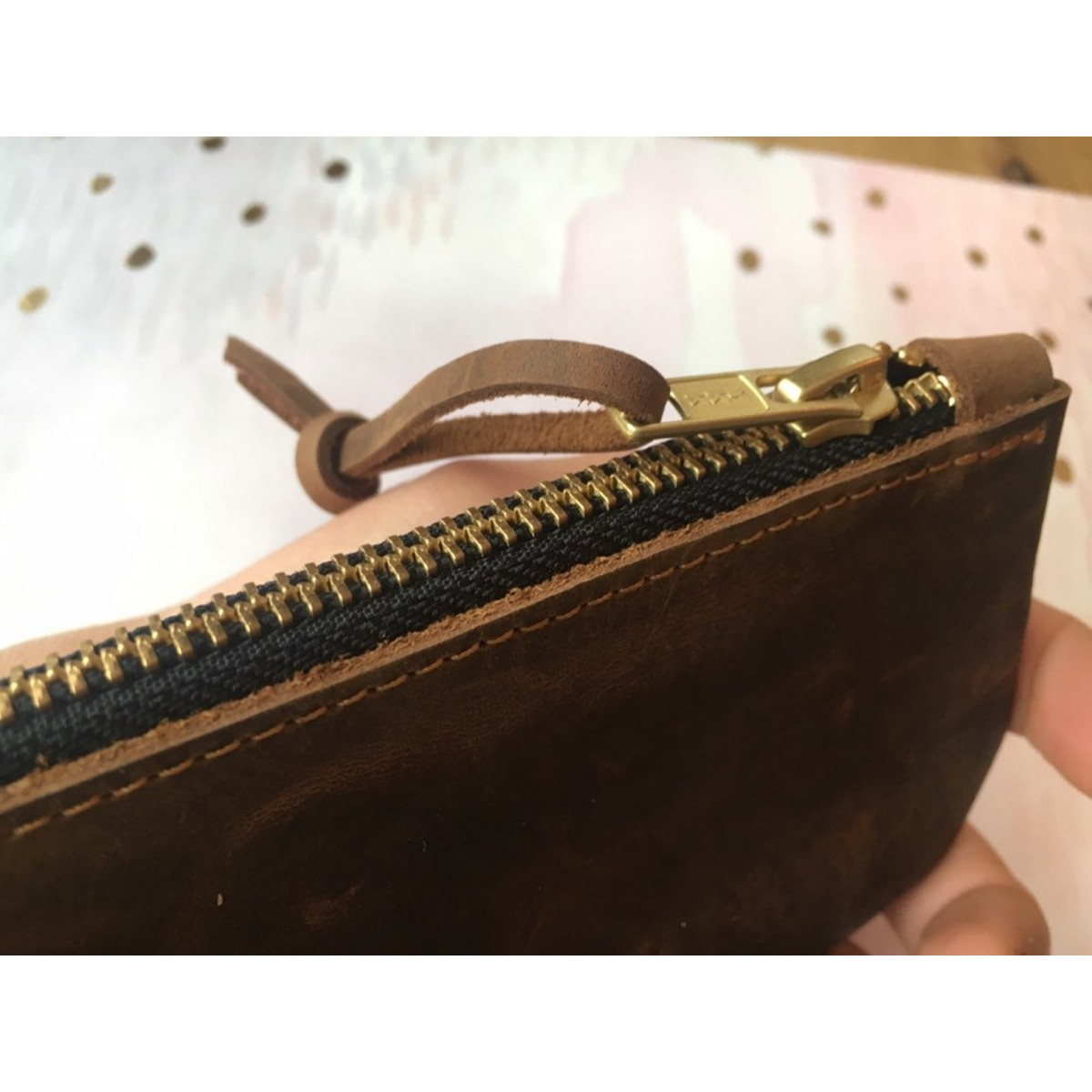 BSaite / Kleines Leder Portemonnaie / kleine Leder Clutch / kleine Leder Geldbörse / Reißverschluss Tasche