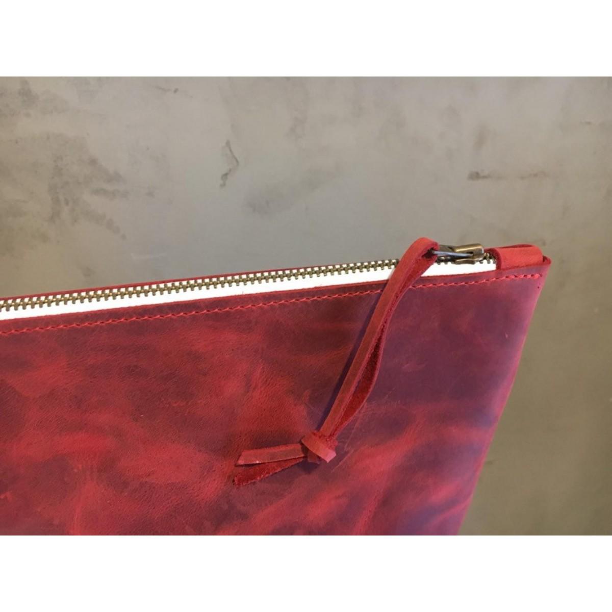 BSaite / Echtleder Kosmetik Tasche / Leather cosmetic bag / Etui aus rotem Leder