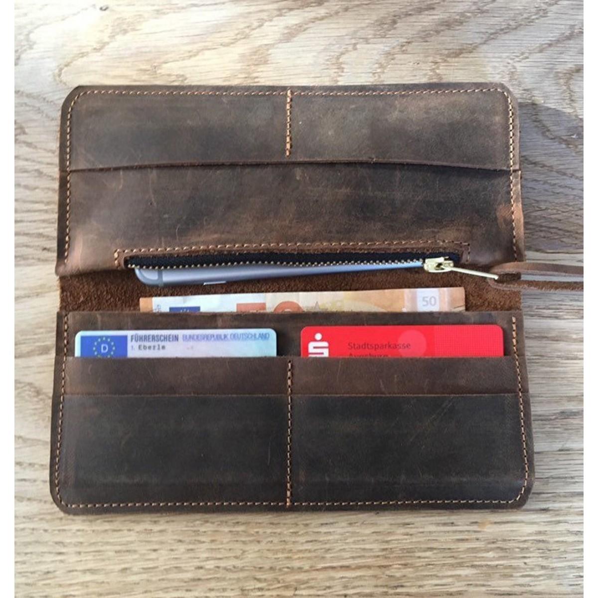 BSAITE Brieftasche aus echtem Leder / Portemonnaie / Geldbeutel / braun