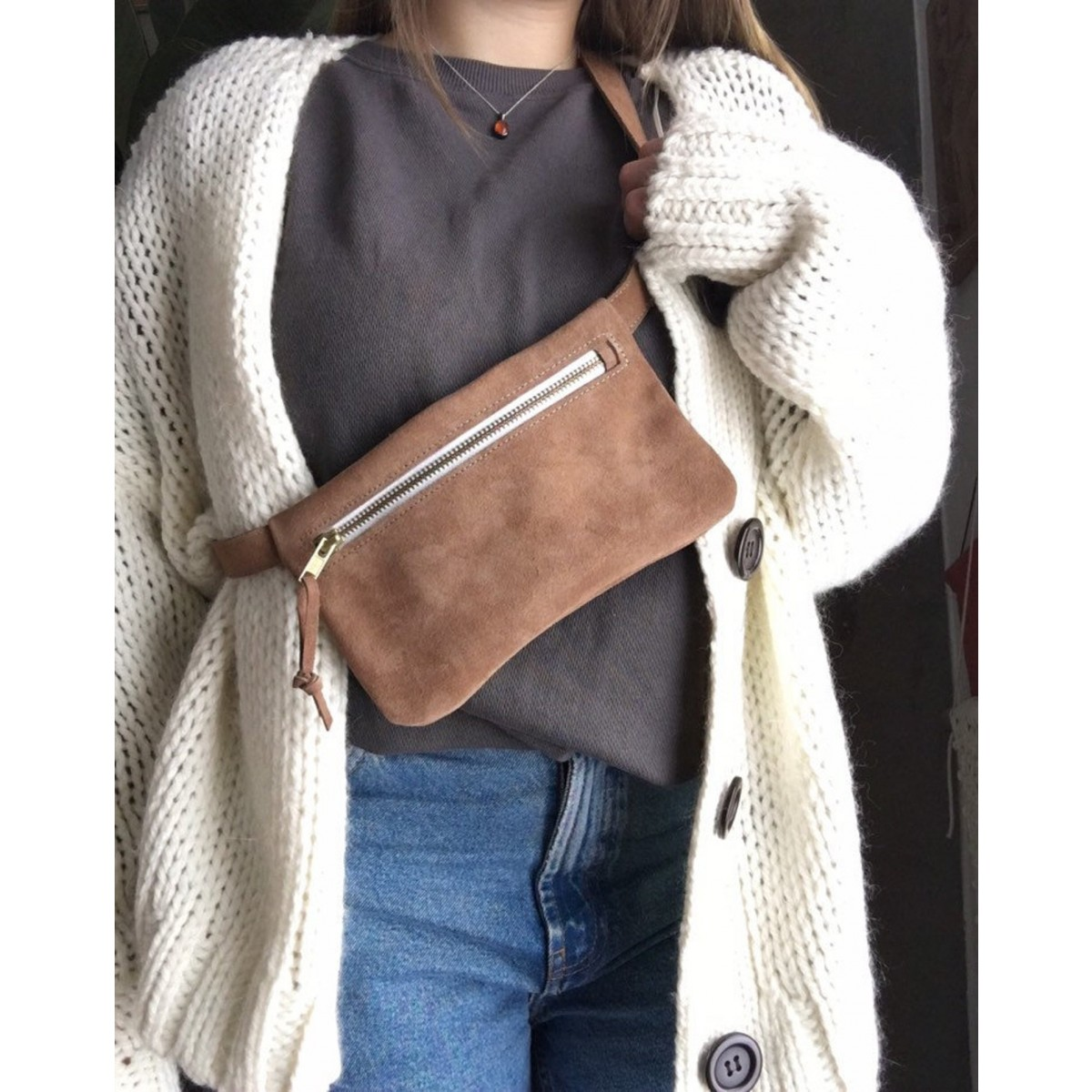 Fanny Pack // Beige Gürteltasche // Wildleder Hüfttasche // suede Leather Hip Bag // Crossbody Bag // Festival Tasche // boho // tumblr