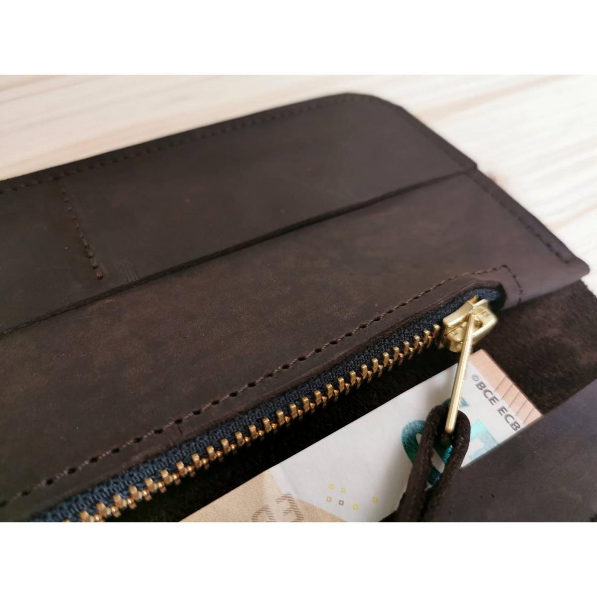 Dunkelbraune Geldbörse // Portemonnaie // chestnut leather wallet // Leder Brieftasche // minimal