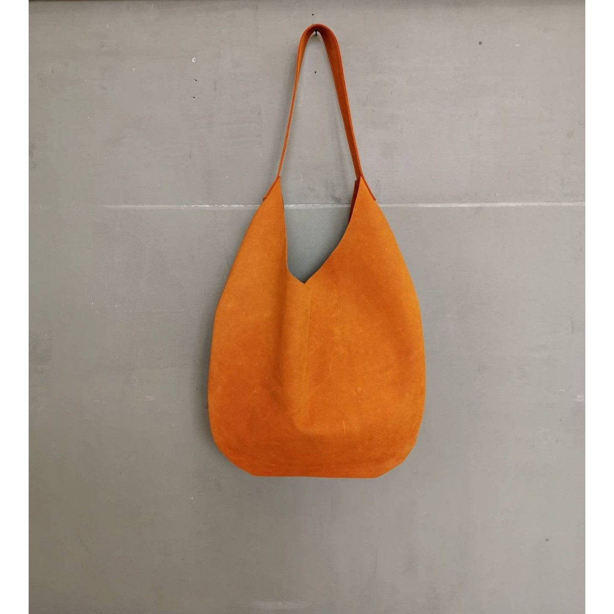 Großer Lederbeutel // Lederbeutel Tasche // Slouchy Bag // Indian summer orange bag // Hobo Bag // Leder Tote // boho//Dunkelorange