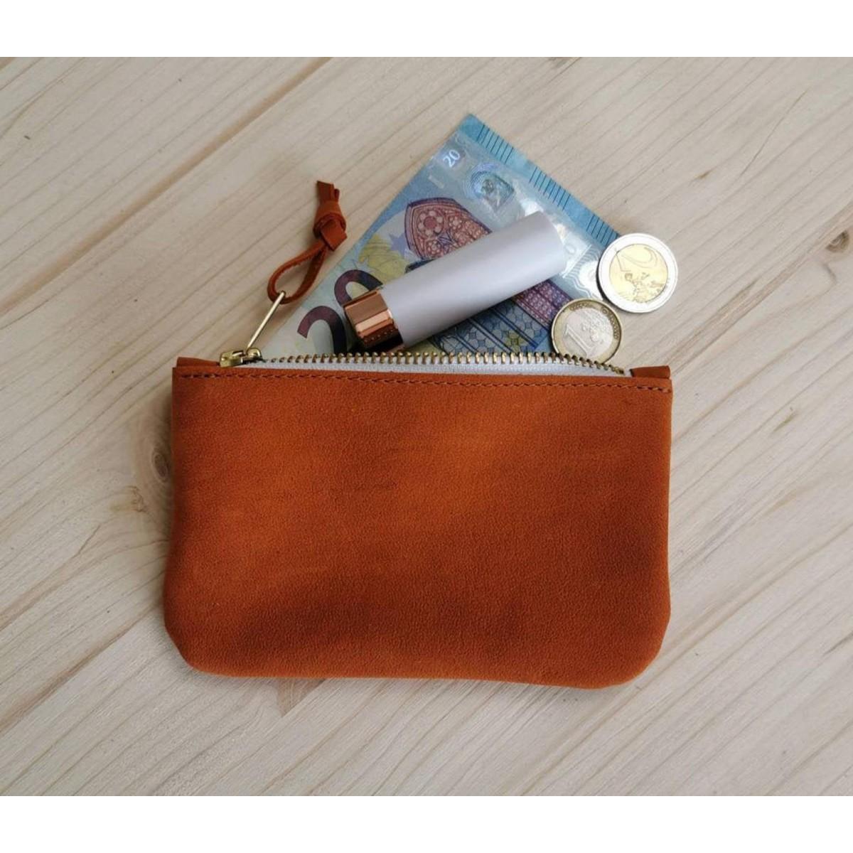 BSaite / Kleines Leder Portemonnaie / kleine Leder Clutch / Orangefarbene Ledergeldbörse / Boho