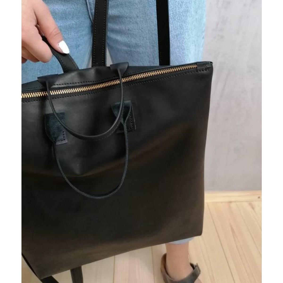 Minimalistischer Lederrucksack // Damen Rucksack // schwarzer Lederrucksack // black leather backpack // minimal