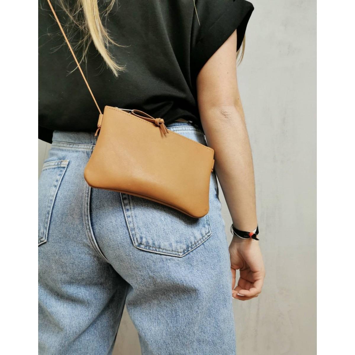 BSAITE Minibag / Umhängetasche aus echtem Leder / camel